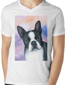 Dog 128 Boston Terrier Mens V-Neck T-Shirt