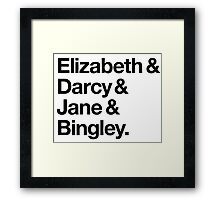 Elizabeth and Darcy and Jane and Bingley. (Pride and Prejudice) Black Helvetica Framed Print