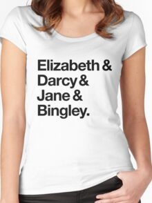 Elizabeth and Darcy and Jane and Bingley. (Pride and Prejudice) Black Helvetica Women's Fitted Scoop T-Shirt