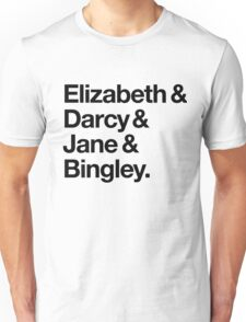 Elizabeth and Darcy and Jane and Bingley. (Pride and Prejudice) Black Helvetica Unisex T-Shirt