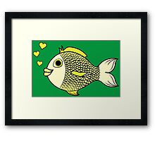 Valentine's Day Yellow Fish with Heart Bubbles Framed Print