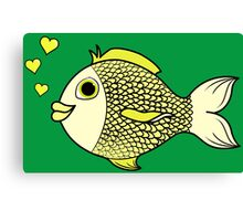 Valentine's Day Yellow Fish with Heart Bubbles Canvas Print