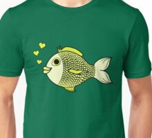 Valentine's Day Yellow Fish with Heart Bubbles Unisex T-Shirt