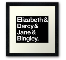 Elizabeth and Darcy and Jane and Bingley. (Pride and Prejudice) White Helvetica Framed Print