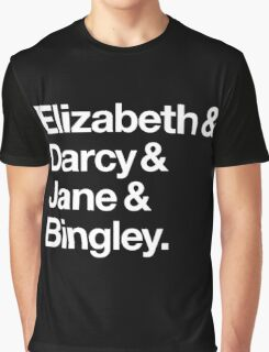 Elizabeth and Darcy and Jane and Bingley. (Pride and Prejudice) White Helvetica Graphic T-Shirt
