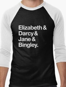 Elizabeth and Darcy and Jane and Bingley. (Pride and Prejudice) White Helvetica Men's Baseball ¾ T-Shirt