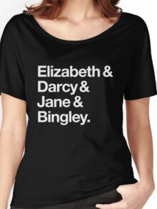 Elizabeth and Darcy and Jane and Bingley. (Pride and Prejudice) White Helvetica Women's Relaxed Fit T-Shirt