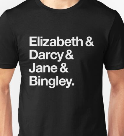 Elizabeth and Darcy and Jane and Bingley. (Pride and Prejudice) White Helvetica Unisex T-Shirt