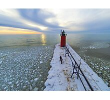 South Haven Lighthouse Ice Photographic Print