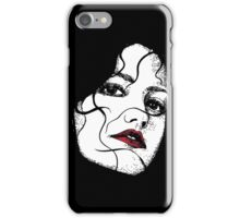 Red Lipped Woman in Dark Shadows iPhone Case/Skin