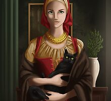 Woman with Cat by Feral Artwork