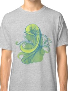 Blue and Yellow Glamor Girl Drawing Classic T-Shirt