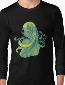 Blue and Yellow Glamor Girl Drawing Long Sleeve T-Shirt