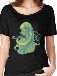 Blue and Yellow Glamor Girl Drawing Women's Relaxed Fit T-Shirt