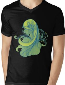 Blue and Yellow Glamor Girl Drawing Mens V-Neck T-Shirt