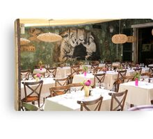 Interior of le cafe, outdoor restaurant, Saint-Tropez, France Canvas Print