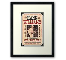 Hank Williams Ballroom Ticket Framed Print