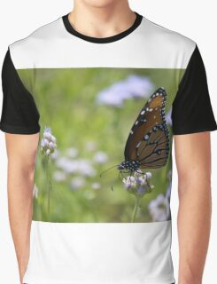 Monarch Butterfly On White Flowers Graphic T-Shirt