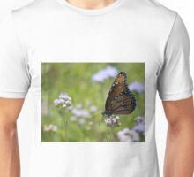 Monarch Butterfly On White Flowers Unisex T-Shirt