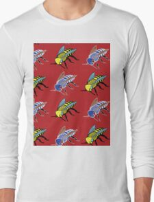 'Bees in red' design my LUCILLE Long Sleeve T-Shirt