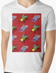 'Bees in red' design my LUCILLE Mens V-Neck T-Shirt