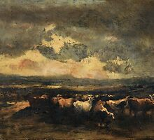 NARCISSE VIRGILE DIAZ DE LA PEÑA ; COWS BEING FRIGHTENED BY THE STORM ; by Adam Asar