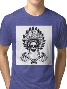 North American Indian chief with tomahawk Tri-blend T-Shirt