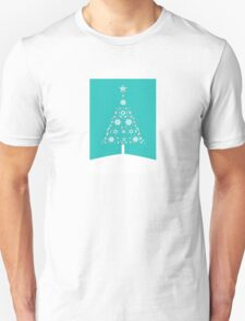 Christmas Tree Made Of Snowflakes On Jade Background T-Shirt