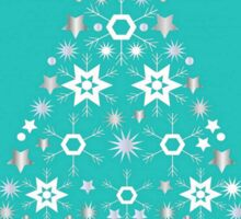 Christmas Tree Made Of Snowflakes On Jade Background Sticker