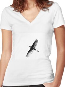 Great White Egret abstract Women's Fitted V-Neck T-Shirt