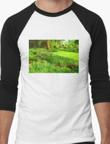 Impressions of Gardens - Lush Green and Blooming Peonies Men's Baseball ¾ T-Shirt