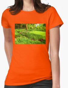Impressions of Gardens - Lush Green and Blooming Peonies Womens Fitted T-Shirt