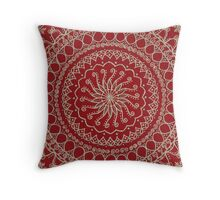 Color Background Mandala - Red Throw Pillow