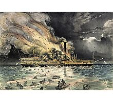 Awful conflagration of the steam boat Lexington - 1840 - Currier & Ives Photographic Print