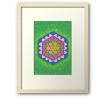 1113 - Big Flower of Life in Green and Shining Framed Print
