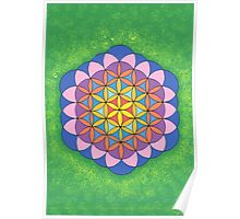 1113 - Big Flower of Life in Green and Shining Poster