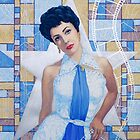 """Elizabeth Taylor"", Old Hollywood, celebrity portrait, painting, white, blue, silver, ocher by clipsocallipso"
