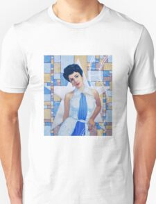 """Elizabeth Taylor"", Old Hollywood, celebrity portrait, painting, white, blue, silver, ocher Unisex T-Shirt"