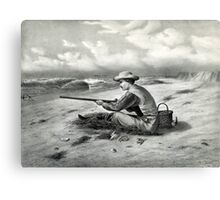 Beach snipe shooting - 1869 - Currier & Ives Canvas Print