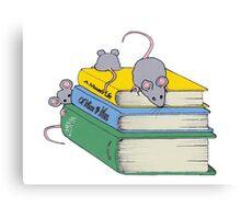 Cute Mice on Stack of Books, Reading, Original Art Canvas Print