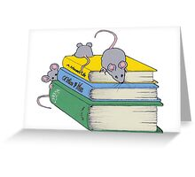 Cute Mice on Stack of Books, Reading, Original Art Greeting Card