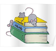 Cute Mice on Stack of Books, Reading, Original Art Poster
