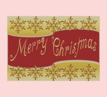 Red Merry Christmas Banner On Gold With Snowflakes One Piece - Short Sleeve