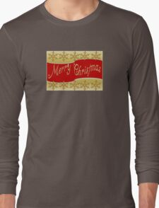 Red Merry Christmas Banner On Gold With Snowflakes Long Sleeve T-Shirt
