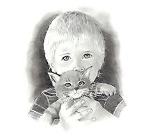 Little Boy with Kitten: Original Pencil Drawing Photographic Print