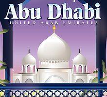 Abu Dhabi travel poster by Nick  Greenaway