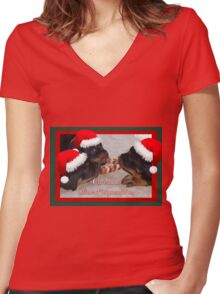A Time Of Joyous Giving Greeting Vector Women's Fitted V-Neck T-Shirt