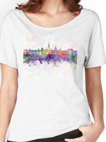 Graz skyline in watercolor background Women's Relaxed Fit T-Shirt