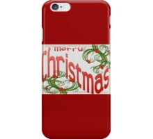 Merry Christmas With Stylized Holly Greeting iPhone Case/Skin