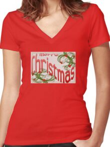 Merry Christmas With Stylized Holly Greeting Women's Fitted V-Neck T-Shirt